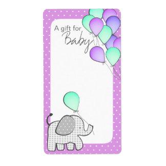 Elephant and Balloons Magenta Polka Dot Book Tags