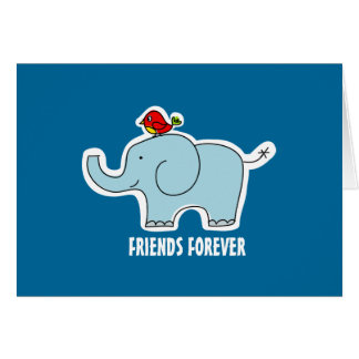 "Elephant and Bird ""Friends Forever"" Note Card"