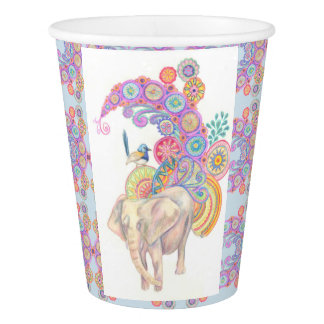 elephant and bird paper cup