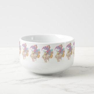 elephant and bird soup mug