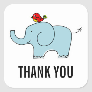 Elephant and Bird Thank You Labels Square Sticker