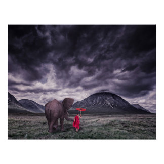 elephant and boy buddah surreal fantasy art poster