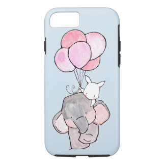 Elephant and Bunny Friends with Pink Balloons Case-Mate iPhone Case