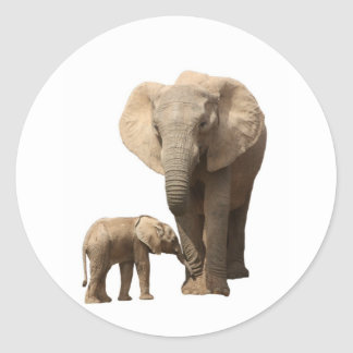 elephant and calf classic round sticker