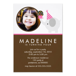 Elephant and Cupcake Birthday Announcements