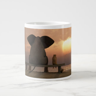 Elephant and Dog Friends Jumbo Mug