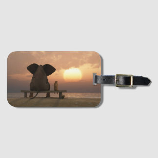 Elephant and Dog Friends Luggage Tag
