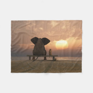 Elephant and Dog Friends Small Fleece Blanket