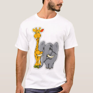 Elephant And Giraffe Child T Shirt Matches Cards