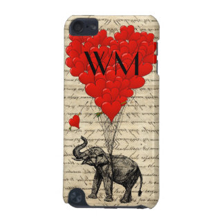 Elephant and heart balloon with monogram iPod touch 5G covers