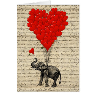 Elephant and heart shaped balloons card