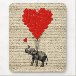 Elephant and heart shaped balloons mouse pad