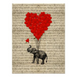 Elephant and heart shaped balloons poster