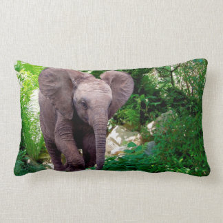 Elephant and Jungle Lumbar Pillow