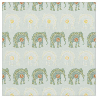 Elephant and Mandala Pattern in Light Green Fabric