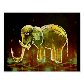 Elephant And Stars On A Field Of The Outer Space Poster