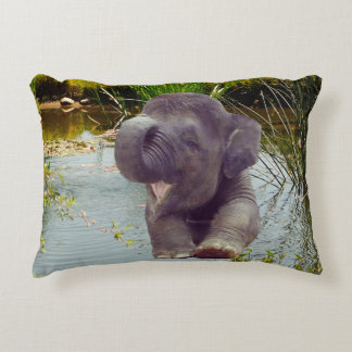 Elephant and Water Decorative Pillow