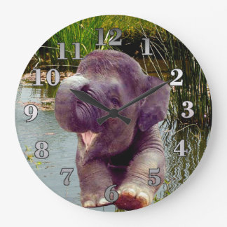 Elephant and Water Large Clock