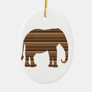 ELEPHANT animal wild pet Gold Stripe Brown Ceramic Ornament