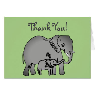 Elephant Art Green Thank You Card