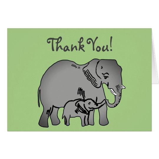 Elephant Art Green Thank You Card