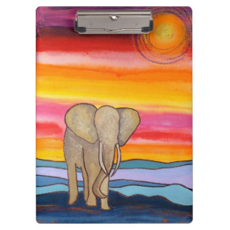 Elephant at Sunset in Africa (K. Turnbull Art) Clipboard