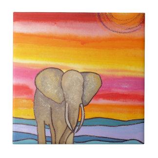 Elephant at Sunset in Africa (K. Turnbull Art) Tile