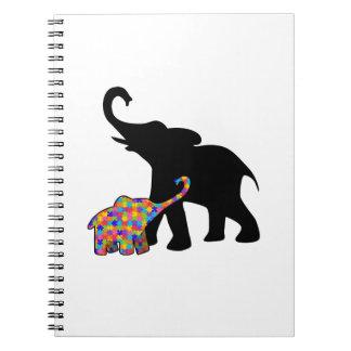 Elephant Autism Awareness Support Spiral Notebook