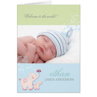 Elephant Baby Boy Photo Birth Announcement