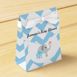 Elephant Baby Shower Blue and White Favor Box