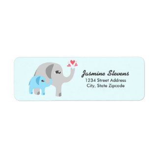 Elephant Baby Shower Blue Return Address Label