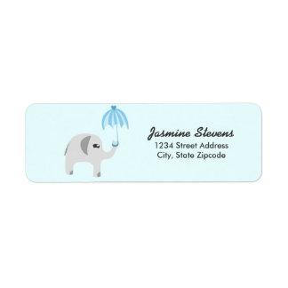 Elephant Baby Shower Blue Umbrella Return Address Label