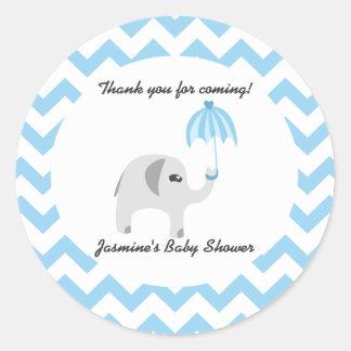 Elephant Baby Shower Blue Umbrella Round Sticker