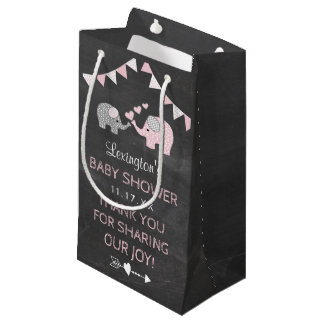 Elephant Baby Shower Chalkboard Look Thank You Small Gift Bag