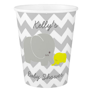Elephant Baby Shower Chevron Party Paper Cup