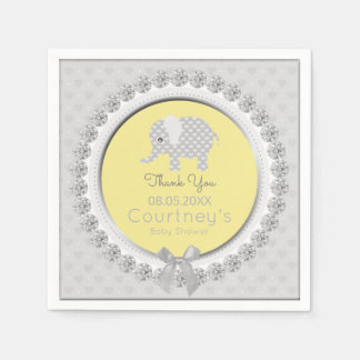 Elephant Baby Shower Elegant Yellow Gray Thank You Paper Napkin