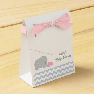 Elephant Baby Shower Favor Boxes Chevron