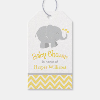 Elephant Baby Shower Favor Tags   Yellow and Gray
