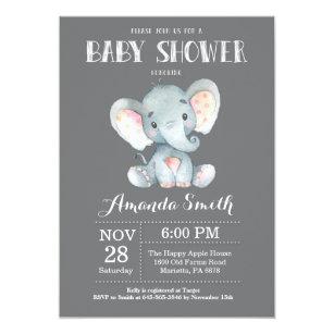 b5919b71ef5 Elephant Baby Shower Invitation Gray