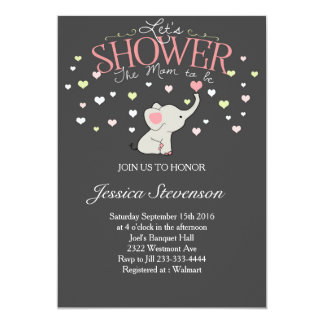 Elephant Baby shower invitation Heart Shower