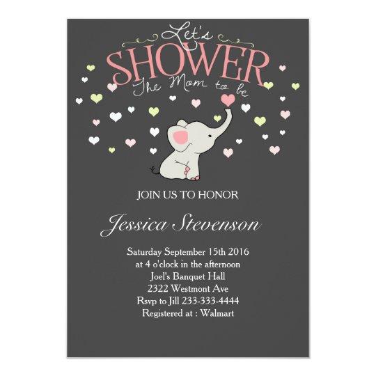 Elephant Baby shower invitation Heart Shower