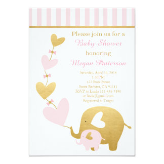 Elephant Baby Shower Invitation in Pink and Gold