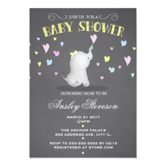 Elephant baby shower invitation, pink hearts card
