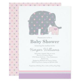 Elephant Baby Shower Invitation | Purple Pink Gray
