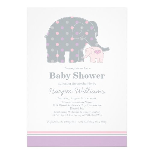 baby shower invitation features a mother elephant and her newborn baby