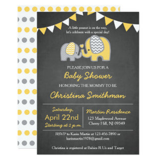 Elephant Baby Shower Invitation Yellow and Grey