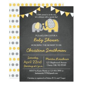 Elephant Baby Shower Invitation Yellow and Grey