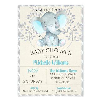 Elephant Baby Shower Invitations Boy