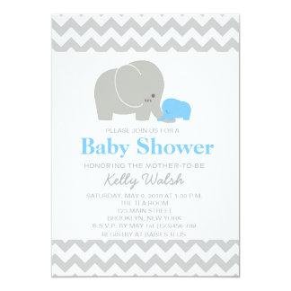 "Elephant Baby Shower Invitations Chevron 5"" X 7"" Invitation Card"