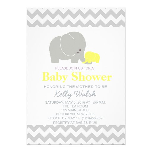 Elephant Baby Shower Invitations Chevron Personalized Invitations